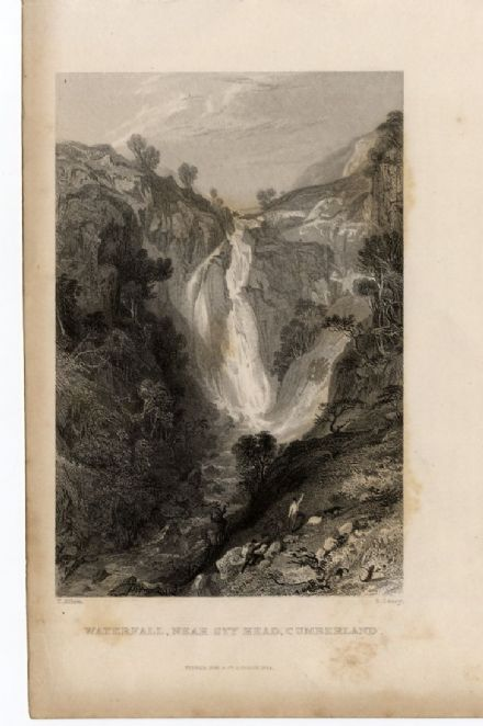 1835 STY HEAD WATERFALL Cumberland Seathwaite ANTIQUE PRINT English Lake DIstrict CUMBRIA